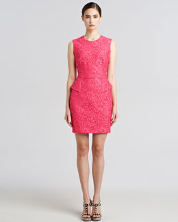 Jason Wu Lace Peplum Sheath Dress, Pink