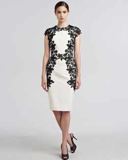 Lela Rose Lace-Applique Sheath Dress