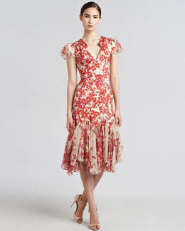 Zac Posen Hibiscus-Print Flared Dress