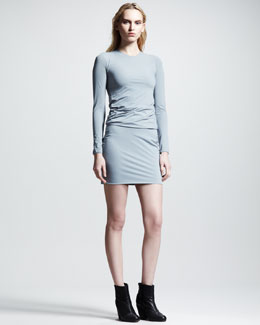 T by Alexander Wang Matte Tricot Twist Dress, Lead