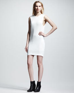 T by Alexander Wang Drape-Back Pique Dress, Ivory