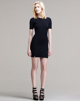 T by Alexander Wang Fitted Short-Sleeve Tech Suiting Dress
