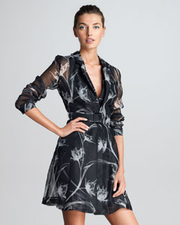 Jason Wu Sheer X-Ray Floral-Print Silk Trench Coat, Black/White