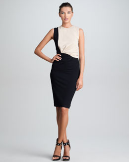 Jason Wu Twisted Techno Jersey Sheath Dress, Nude/Black