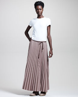Brunello Cucinelli Pleated Drawstring Skirt, Cocoa