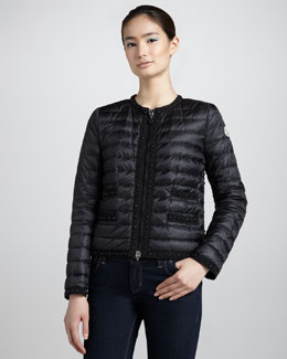 Moncler Quilted Stud-Trim Down Jacket