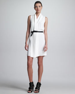 Derek Lam Draped Belted Dress, White