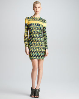 Derek Lam Honeycomb-Print T-Shirt Dress
