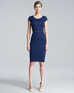 Zac Posen Fitted Cap-Sleeve Dress