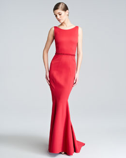 Zac Posen Fitted Low-Back Jersey Mermaid Dress