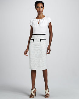Carolina Herrera Tweed-Skirt Dress, Ivory