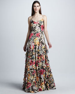Ralph Lauren Collection Floral Silk Organza Evening Dress