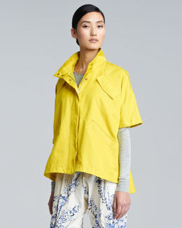 Lela Rose Short-Sleeve Sport Jacket, Sunflower