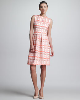 Lela Rose Split-Neck Check Jacquard Dress, Bright Coral