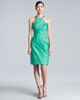 Lela Rose Silk Chain-Halter Dress