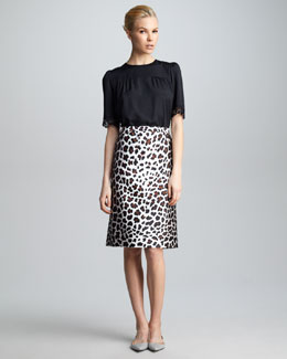 Marc Jacobs Leopard-Print Satin Skirt