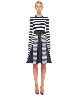 Michael Kors  Mix-Stripe Shantung Skirt