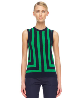 Michael Kors  Striped Cashmere Shell