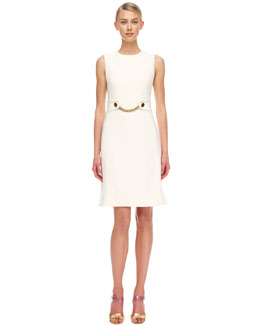Michael Kors  Chain-Front Crepe Sheath Dress