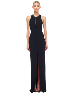 Michael Kors Crepe Zip Gown