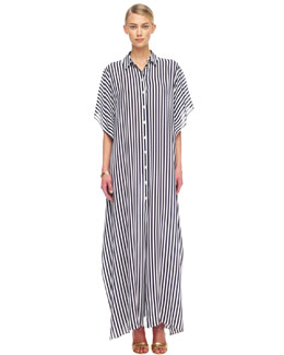 Michael Kors  Striped Georgette Maxi Shirt-Waist Caftan