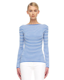 Michael Kors  Striped Cashmere Top