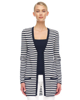 Michael Kors Striped Cashmere Cardigan