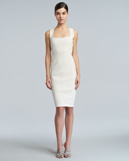 Donna Karan Spiral-Seamed Cross-Back Sheath Dress, Eggshell