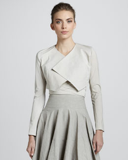Donna Karan Folded Crepe Bolero, Natural