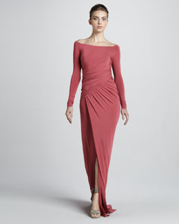 Donna Karan Off-the-Shoulder Draped Jersey Gown, Sunset Rose