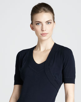 Donna Karan Short-Sleeve Shrug, Navy