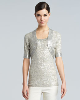 Donna Karan Sequined Evening Shrug, Natural