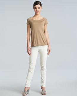 Donna Karan Slim Side-Zip Ankle Pants, Eggshell
