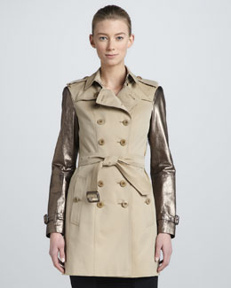 Burberry London Metallic Leather-Sleeve Trench Coat