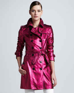 Burberry London Metallic Leather Trenchcoat, Fuchsia