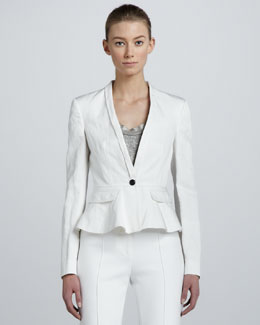 Burberry London One-Button Peplum Jacket