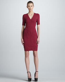 Burberry London Sweetheart-Detailed Ruched Sheath Dress