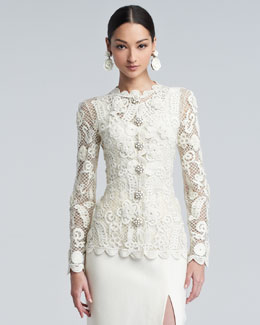 Oscar de la Renta Long-Sleeve Floral-Embroidered Lace Jacket