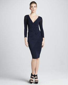 Donna Karan Woven-Bodice Three-Quarter-Sleeve Dress, Navy