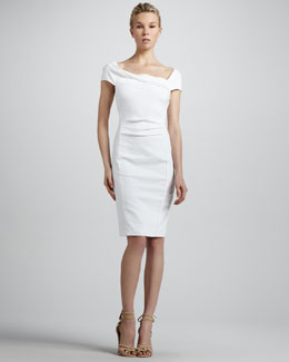 Donna Karan Cap-Sleeve Linen-Blend Dress, Zinc