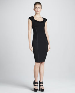 Donna Karan Cold-Shoulder Taped Sheath Dress, Black