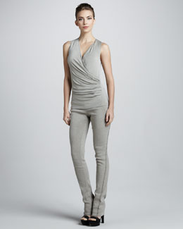 Donna Karan Exposed-Seam Pull-On Pants, Hemp