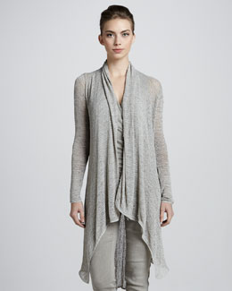 Donna Karan Long Draped Tunic, Hemp