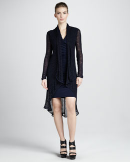 Donna Karan Long Draped Tunic, Navy