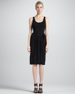 Donna Karan Self-Belted Sleeveless Jersey Dress, Black