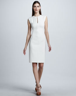 Ralph Lauren Black Label Double-Faced Wool Crepe Dress, Cream