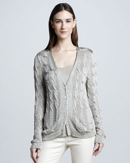 Ralph Lauren Black Label Metallic Cable-Knit Cardigan, White Gold