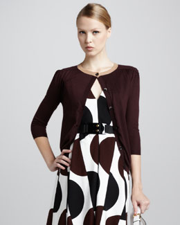 Marni Three-Quarter-Sleeve Cardigan, Wine