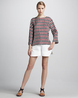 Marni Pleated Shorts, Lily White