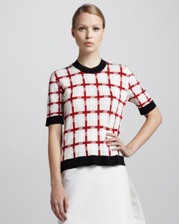 Marni Crewneck Grid-Print Sweater